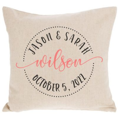 Bride & Groom Throw Pillow with Date - Circle
