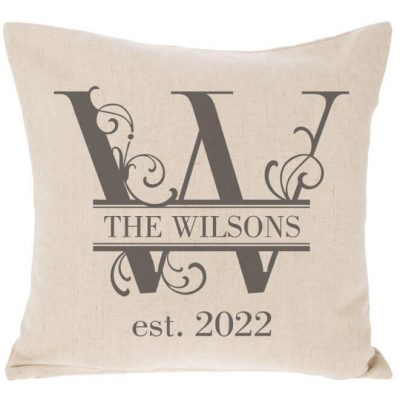 Wedding Throw Pillow with Floral Initial & Name