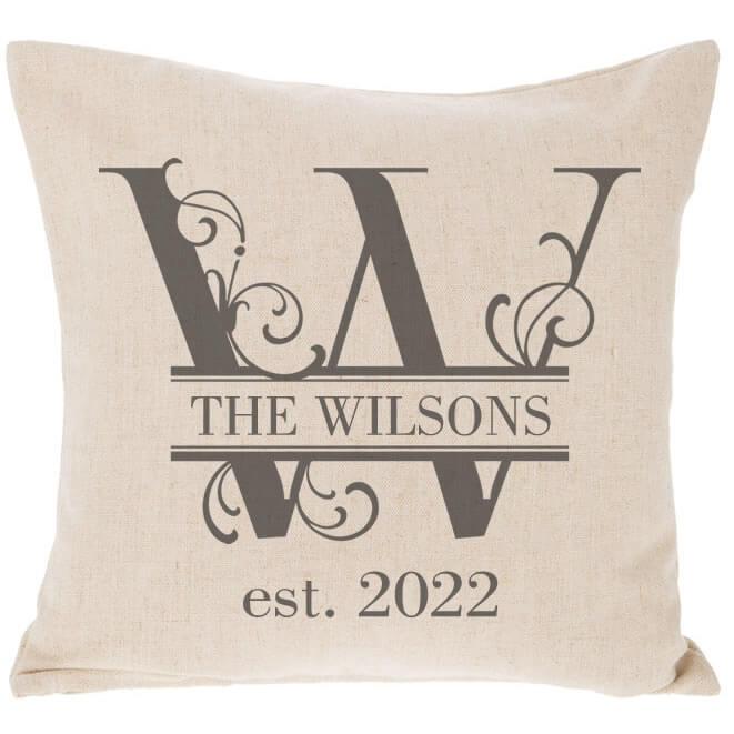 Split Monogram Throw Pillow Personalized Brides