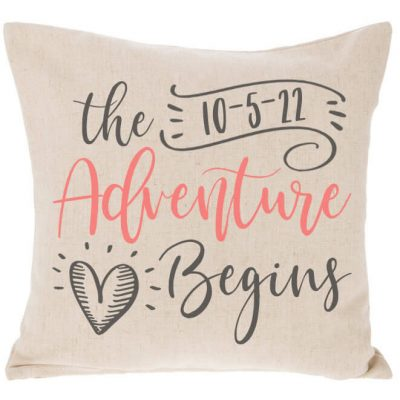 """The Adventure Begins"" Throw Pillow"
