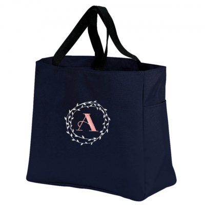 Embroidered Tote Bag with Floral Wreath Monogram