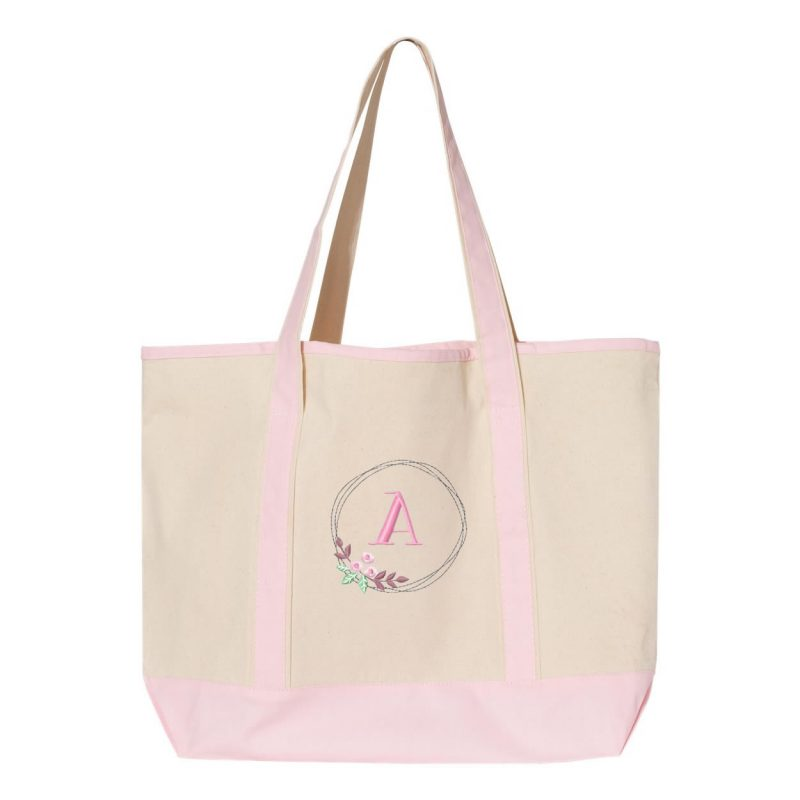 Tote Bag with Floral Wreath Monogram