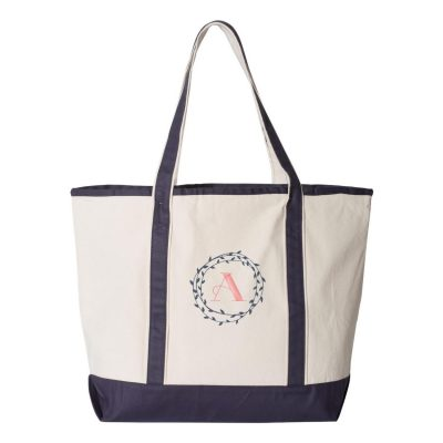 Tote Bag with Wreath Monogram