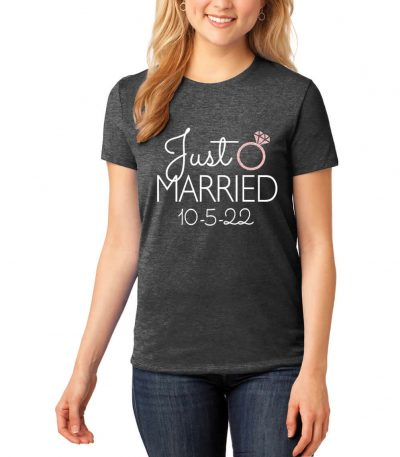 "Personalized ""Just Married"" with Date Rhinestone Bride T-Shirt"