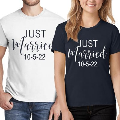 """Just Married"" Bride & Groom T-Shirt Set"
