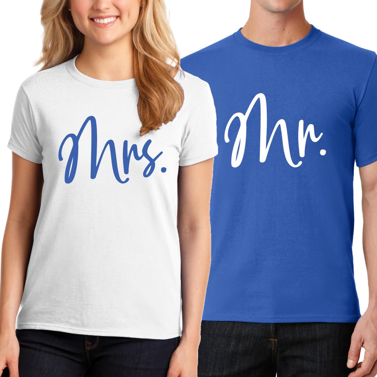 aba079d02 Mr. & Mrs. T-Shirt Set - Script | Personalized Brides