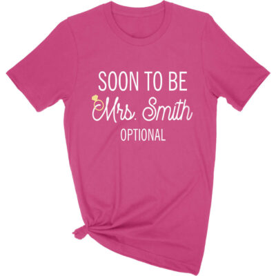 "Personalized ""Soon to be Mrs."" Rhinestone Bride T-Shirt"