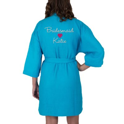 Personalized Waffle Bridal Party Robe with Name & Heart - Back