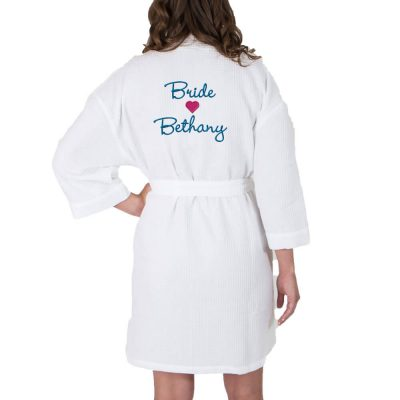 Personalized Waffle Bride Robe with Name & Heart - Back