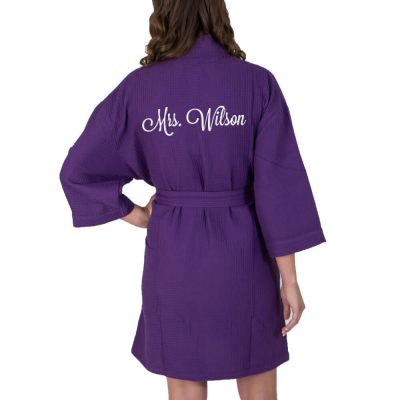 "Personalized ""Mrs."" Waffle Bride Robe (Back)"