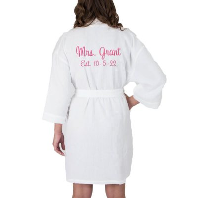 "Personalized ""Mrs."" Waffle Bride Robe with Date (Back)"