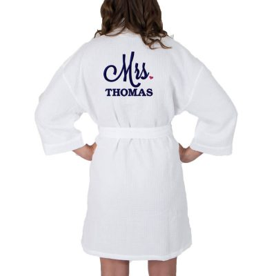 "Personalized ""Mrs."" Waffle Bride Robe with Heart"