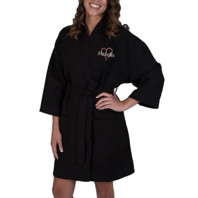 Personalized Waffle Bridal Party Robe with Name and Heart