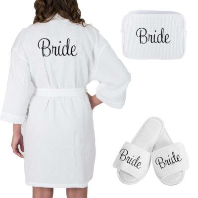 Personalized Bride Waffle Robe Set