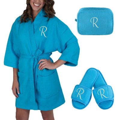Personalized Waffle Robe with Initial Set