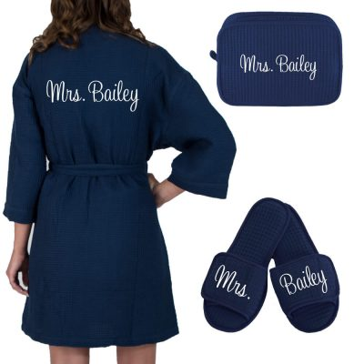 "Personalized ""Mrs."" Bride Waffle Robe Set"