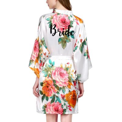 Watercolor Floral Satin Bride Robe