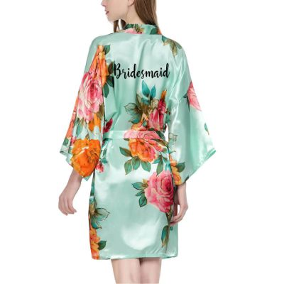Watercolor Floral Satin Bridesmaid Robe