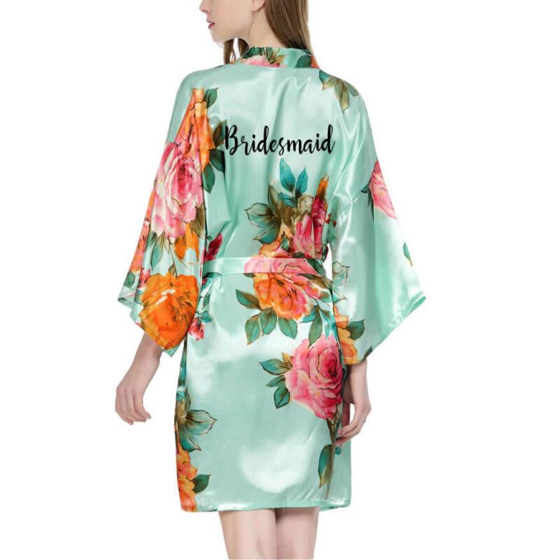 Watercolor Floral Satin Bridesmaid Robe
