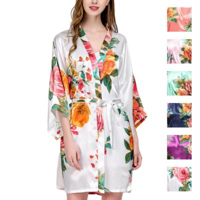 Watercolor Floral Satin Wedding Robe - Blank