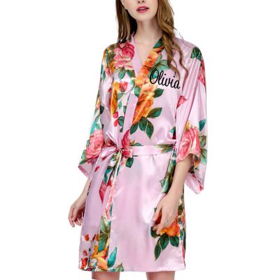 Watercolor Floral Satin Robe with Name