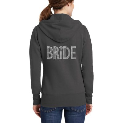 Rhinestone Full-Zip Bride Hoodie with Diamond Accent