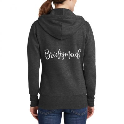 Full-Zip Bridesmaid Hoodie with Hearts - Front