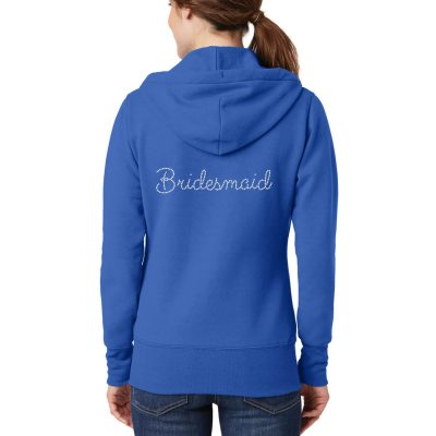 Full-Zip Rhinestone Bridesmaid Hoodie with Ring