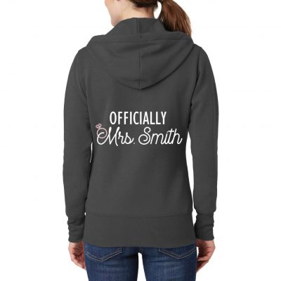 "Full-Zip ""Officially Mrs."" Bride Hoodie"