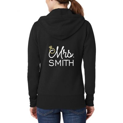 """Personalized """"Mrs."""" with Date Full-Zip Embroidered Bride Hoodie"""
