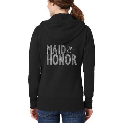 Full-Zip Rhinestone Maid of Honor Hoodie - Block