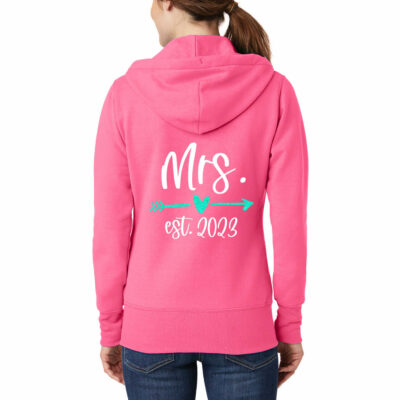"""Mrs."" Full-Zip Bride Hoodie with Date"