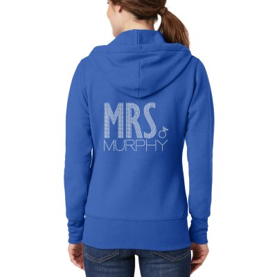 "Personalized ""Mrs."" Full-Zip Rhinestone Bride Hoodie - Block"