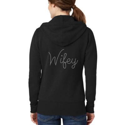 Personalized Wifey Full-Zip Rhinestone Hoodie