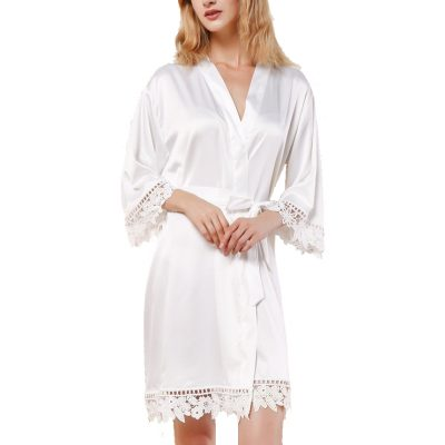 White Lace Satin Robe Front