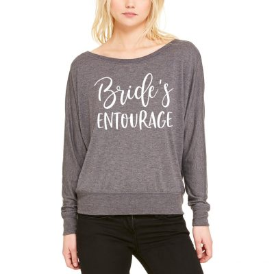 "Wide Neck ""Bride's Entourage"" Shirt with Hearts"