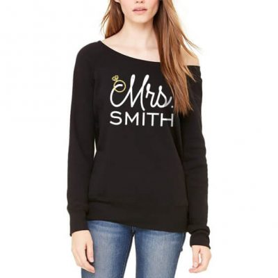 "Personalized Wide Neck ""Mrs."" Sweatshirt"