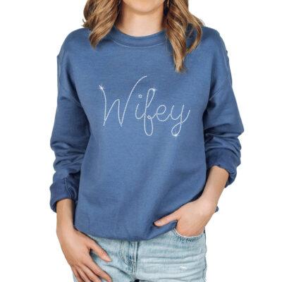 Wide Neck Rhinestone Wifey Sweatshirt