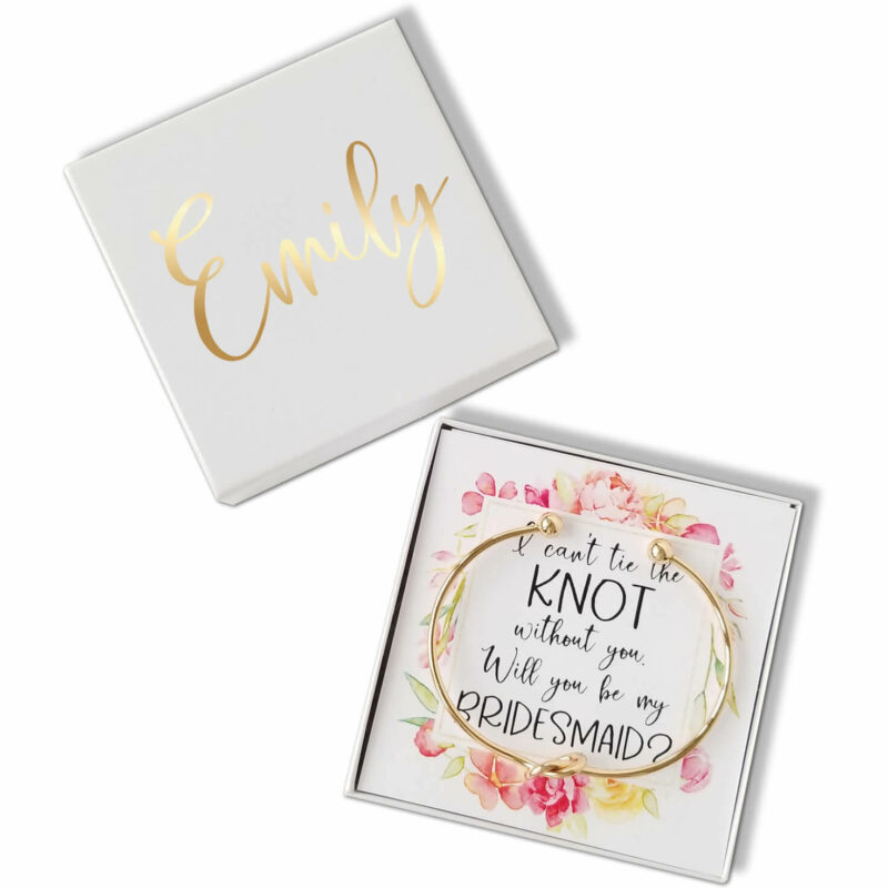 """""""Will You Be My Bridesmaid?"""" Knot Bracelet Gift Box - Floral Frame"""