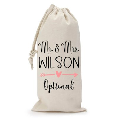 "Personalized ""Mr. & Mrs."" Wine Bag with Hearts"