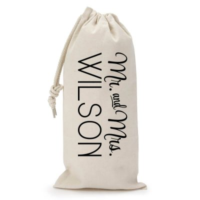 "Personalized ""Mr. & Mrs."" Wine Bag"