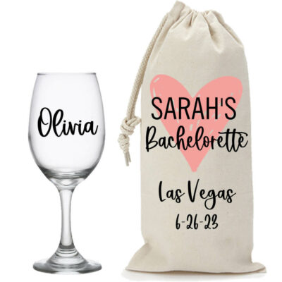 Bachelorette Party Wine Glass & Wine Bag Set