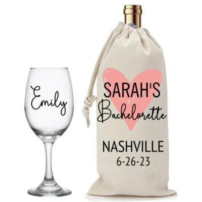 Bachelorette Party Wine Glass & Wine Bag Set