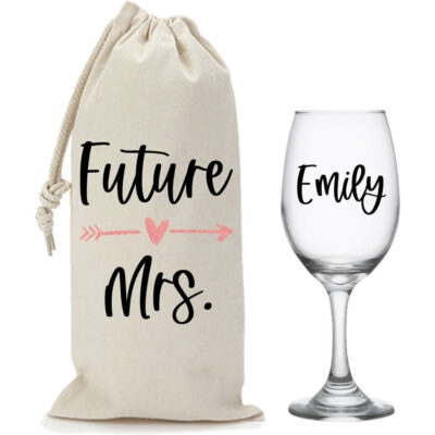 """The Future Mrs."" Wine Glass & Wine Bag Set"