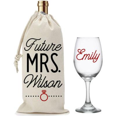 """The Future Mrs."" Wine Glass & Wine Bag Set"