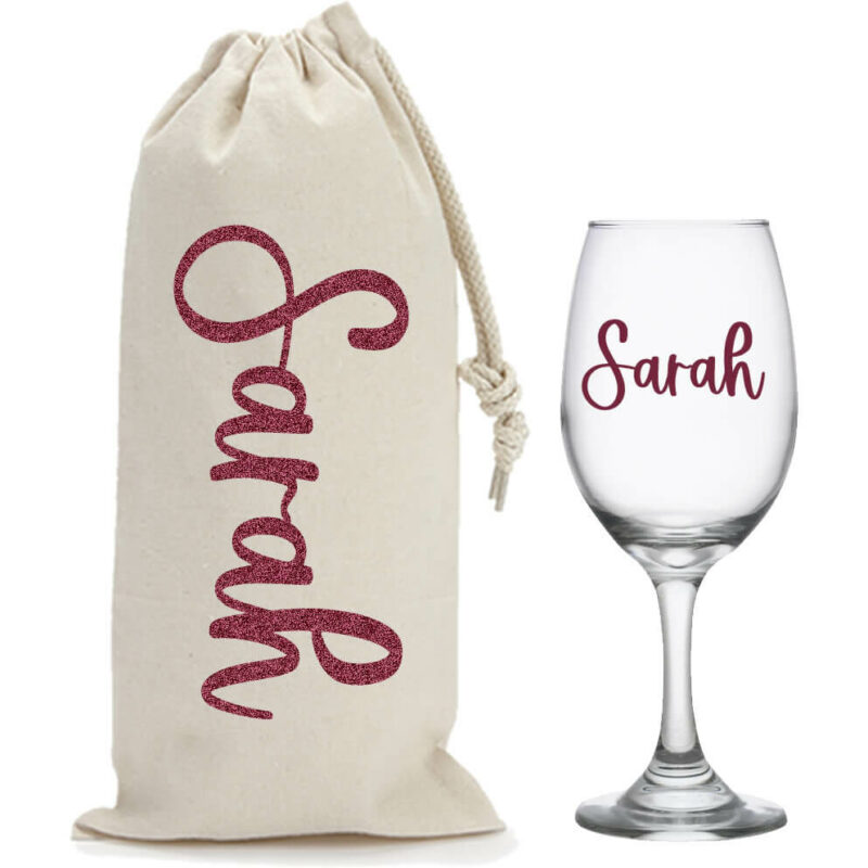 Personalized Wine Glass & Wine Bag Set with Name
