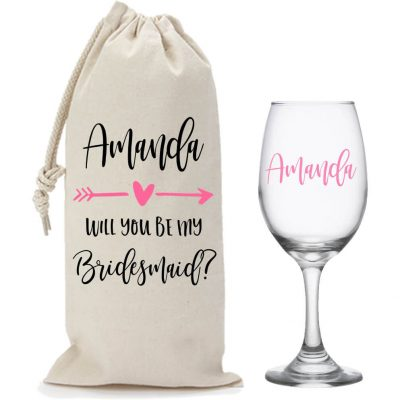 """Will You Be My Bridesmaid?"" Wine Glass & Wine Bag Set with Arrow"