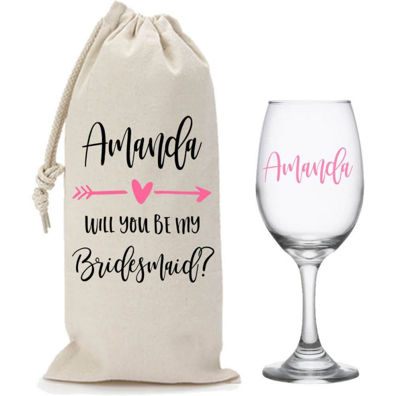 """""""Will You Be My Bridesmaid?"""" Wine Glass & Wine Bag Set with Arrow"""