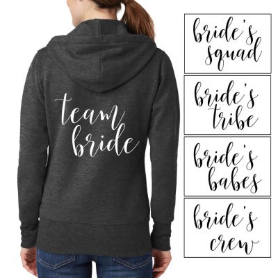 Full-Zip Bridal Party Hoodie - Lowercase Script