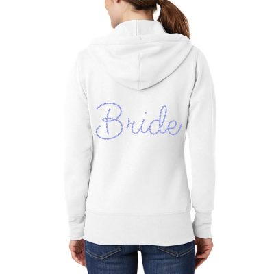 Personalized Rhinestone Full-Zip Bride Hoodie with Wedding Date